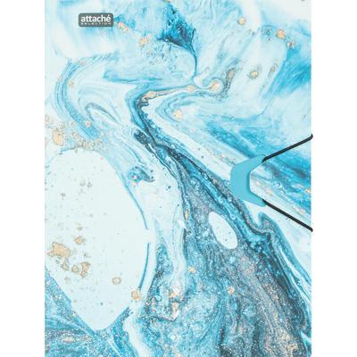 Папка на резинке Attache Selection Fluid А4+ 18 мм пластиковая до 200 листов серо-голубая (толщина обложки 0.45 мм)