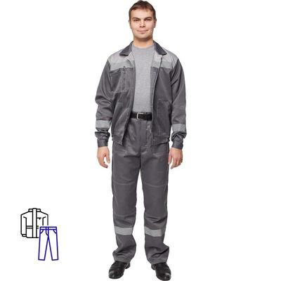 Костюм рабочий летний мужской л22-КБР с СОП темно-серый/светло-серый (размер 56-58, рост 158-164)