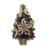 Елка новогодняя настольная 30 см в корзине с украшениями платинового цвета
