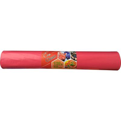 Мешки для мусора на 120 литров красные (40 мкм, в рулоне 10 штук, 70х108 см)