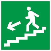 Знак безопасности Направление к эвакуационному выходу по лестнице вниз, левосторонний E14 (200х200 мм, пленка ПВХ)