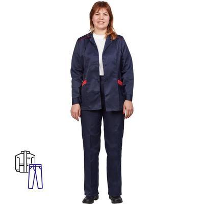 Костюм рабочий летний женский л12-КБР синий/красный (размер 56-58, рост 158-164)