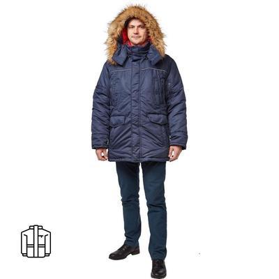 Куртка рабочая зимняя мужская Аляска з28-КУ синяя (размер 44-46, рост 170-176)