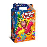 Новогодний сладкий подарок Супергерой в картонной коробке 1000 г (с пазлом)