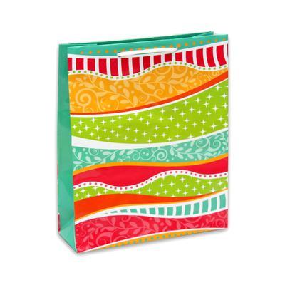 Пакет подарочный ламинированный Цветные волны (24x18x8 см)