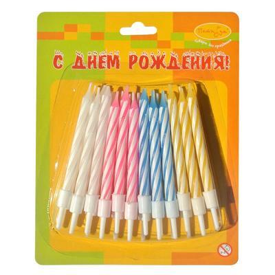Свечи для торта Пати Бум С днем рождения (24 штуки в упаковке)