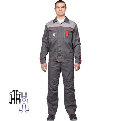 Костюм рабочий летний мужской л10-КПК темно-серый/светло-серый (размер 60-62, рост 182-188)