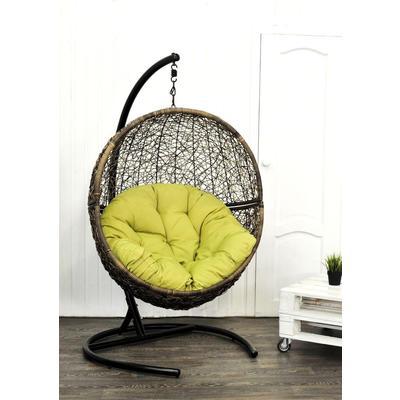 Кресло подвесное Lunar Coffee коричневое/светло-зеленое (искусственный ротанг, сталь)