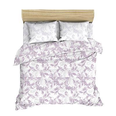 Постельное белье Жаккард Сирень (2-спальное с европростыней, лен)