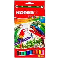 Фломастеры Kores Korellos 10 цветов двусторонние с тонким и коническим стержнем