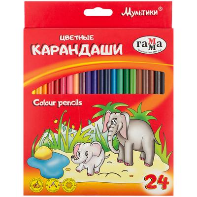 Карандаши цветные Гамма Мультики 24 цвета трехгранные