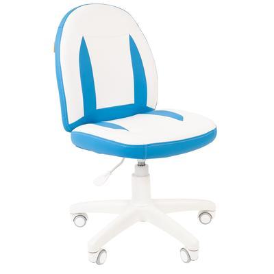 Кресло детское Chairman Kids 122 белое/голубое (искусственная кожа/пластик)