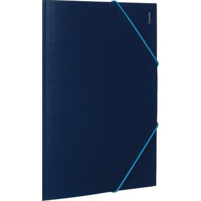 Папка на резинках Комус Шелк А4 15 мм пластиковая до 200 листов синяя (толщина обложки 0.5 мм)