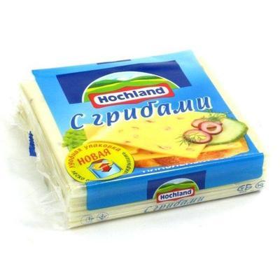 Сыр Hochland плавленый тостовый с грибами 45% (8 ломтиков, 150 г
