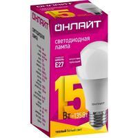 Лампа светодиодная ОНЛАЙТ 15 Вт Е 27 грушевидная 2700 К теплый белый свет