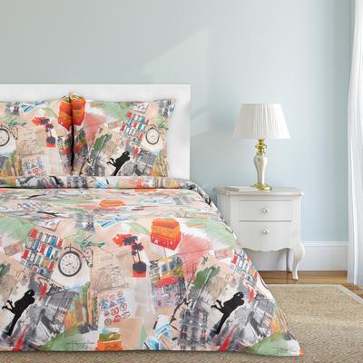 Постельное белье Этель Путешествие (2-спальное с европростыней, 2 наволочки 70x70 см, бязь)