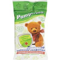 Влажные салфетки детские антибактериальные Pamperino 20 штук в упаковке