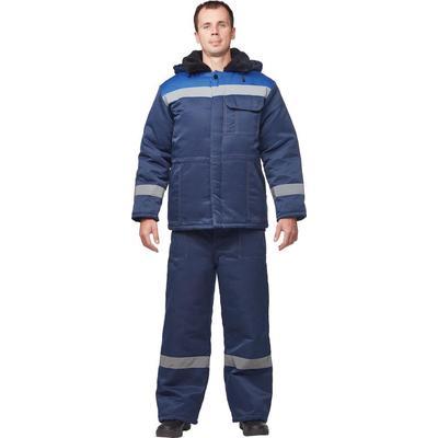 Куртка рабочая зимняя мужская з32-КУ с СОП с СОП синяя/васильковая (размер 48-50, рост 158-164)