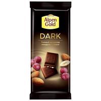 Шоколад Alpen Gold темный с изюмом и миндалем 80 г
