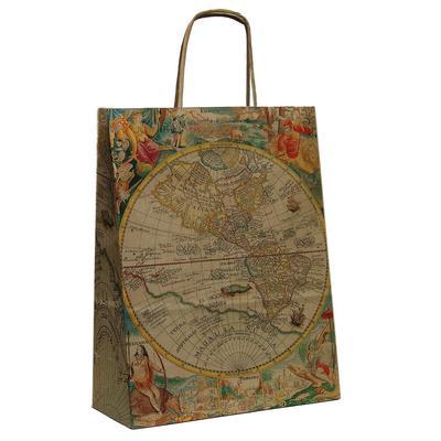 Пакет подарочный из крафт-бумаги Карта (32x32x12 см)