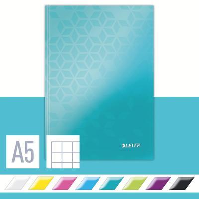 Бизнес-тетрадь Leitz Wow А5 80 листов бирюзовая в клетку на сшивке (155х217 мм)