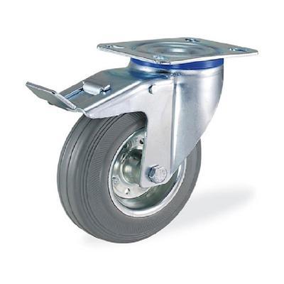Колесо для тележки поворотное SCbf160 с тормозом 160 мм