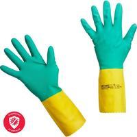 Перчатки латексные Vileda Professional Усиленные с неопреном повышенная прочность зеленые/желтые (размер 8.5-9, L, артикул производителя 120269)