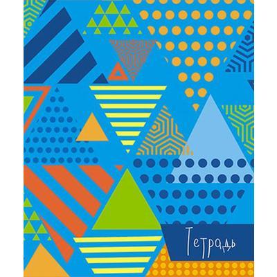 Тетрадь общая Апплика Треугольники на голубом А5 80 листов в клетку на скрепке