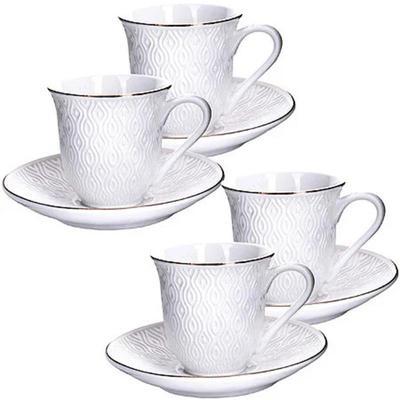 Сервиз чайный Loraine (25778) 8 предметов фарфор (4 чашки 240 мл, 4 блюдца 14 см)