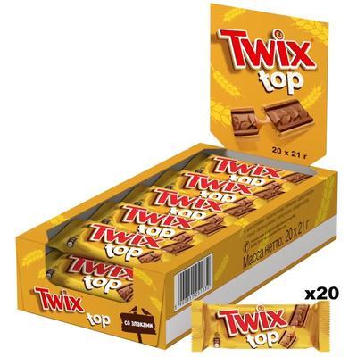 Печенье Twix Top в молочном шоколаде 420 г (20 штук по 21 г)