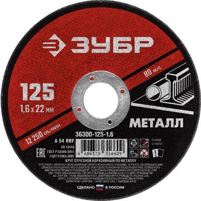 Круг отрезной абразивный по металлу Зубр 125х1.6 мм (36300-125-1.6)