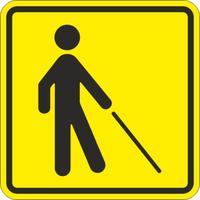 Знак безопасности Знак Уступите дорогу человеку с белой тростью (150х150 мм, пластик)