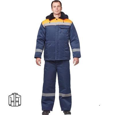 Куртка рабочая зимняя мужская з32-КУ смесовая с СОП синяя/оранжевая (размер 52-54, рост 170-176)