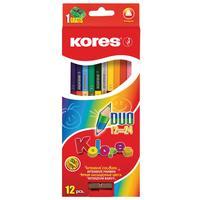 Карандаши цветные Kores Duo 24 цвета (двусторонние) трехгранные с точилкой