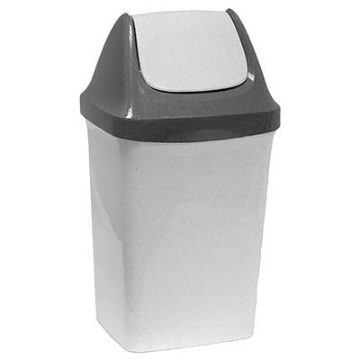 Ведро для мусора с крышкой-вертушкой М-Пластика Свинг 25 л пластик серое (32х27.9х58 см)