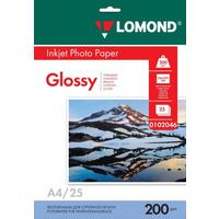 Фотобумага для цветной  струйной печати Lomond односторонняя (глянцевая, А4, 200 г/кв.м, 25 листов, артикул производителя 0102046)