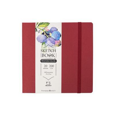 Скетчбук для акварели Малевичъ Nature бордовый 190х190 мм 20 листов