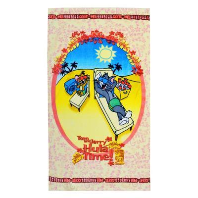 Полотенце махровое Том и Джерри на отдыхе 50х90 см 320 г/кв.м разноцветное