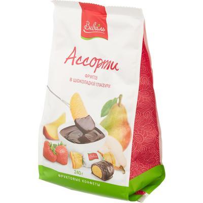 Ассорти фруктов в шоколадной глазури Виваль 240 г