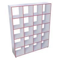 Шкаф открытый Точка Роста ТР20 многосекционный (белый/красный, 1480х350х1850 мм)