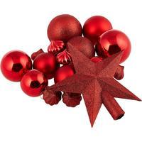 Набор новогодних украшений пластик красный (18 штук в упаковке)