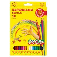 Карандаши цветные Каляка-Маляка 18 цветов шестигранные