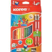 Карандаши цветные Kores Jumbo 12 цветов трехгранные с точилкой и ластиком