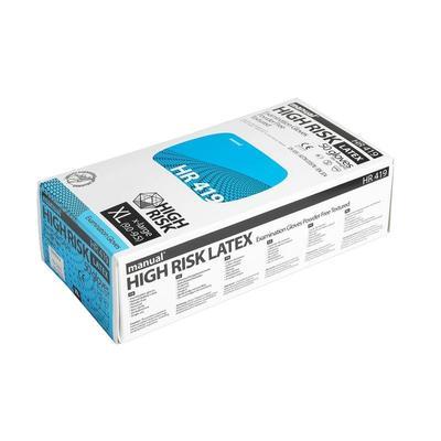 Перчатки одноразовые Manual High Risk латексные неопудренные синие (размерXL, 50 штук/25 пар в упаковке)