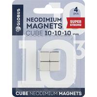 Магниты для досок (10х10х10 мм, 4 штуки в упаковке) для стеклянных досок стальные Глобус