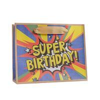 Пакет подарочный из крафт-бумаги Super birthday S (12x15x5.5 см, 12 штук в упаковке)