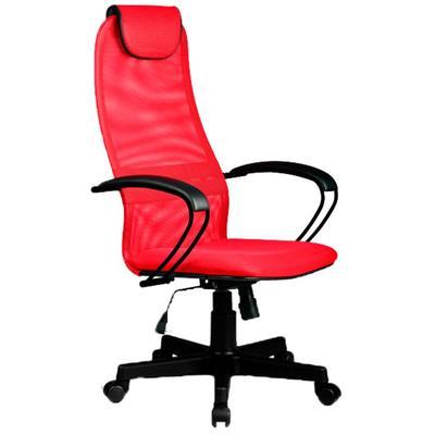 Кресло для руководителя Метта  BР-8 PL красное (ткань/сетка/экокожа/металл/пластик)