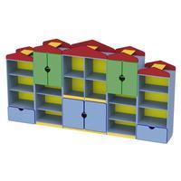 Стеллаж детский Домик(разноцветный, 3045х437х1605 мм)