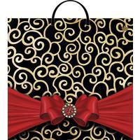 Пакет подарочный пластиковый Красный бант (36х37 см, 10 штук в упаковке)
