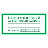 Знак безопасности Ответственный за электробезопасность  А31 (100x200 мм, пленка ПВХ)